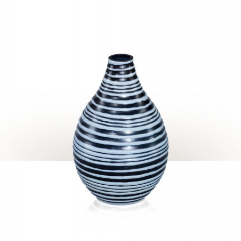 A sea and powder blue art glass vase
