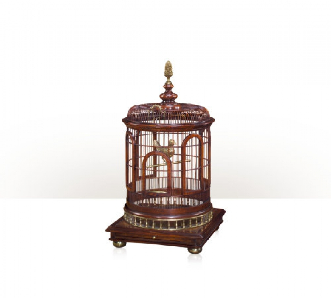 A brass and acacia birdcage