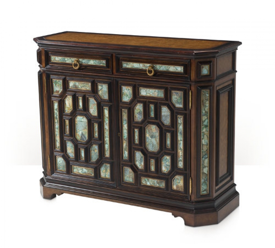 A pollard burl and turquoise stone panelled side cabinet