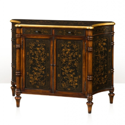 A Chinoiserie serpentine side cabinet