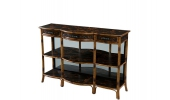 A bamboo and black lacquer three tier console table